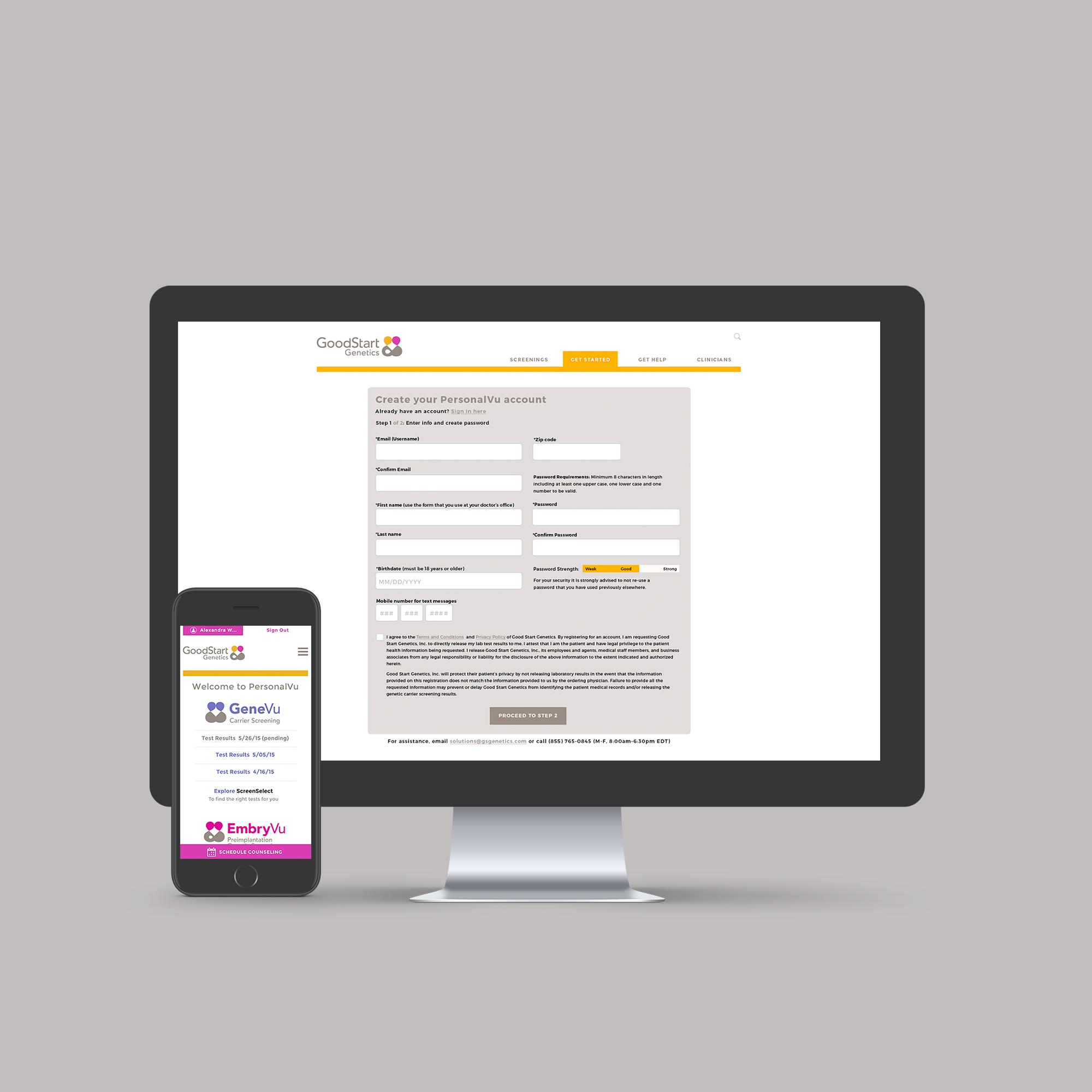 GoodStart genetics - Custom web dashboard and mobile app for patients.