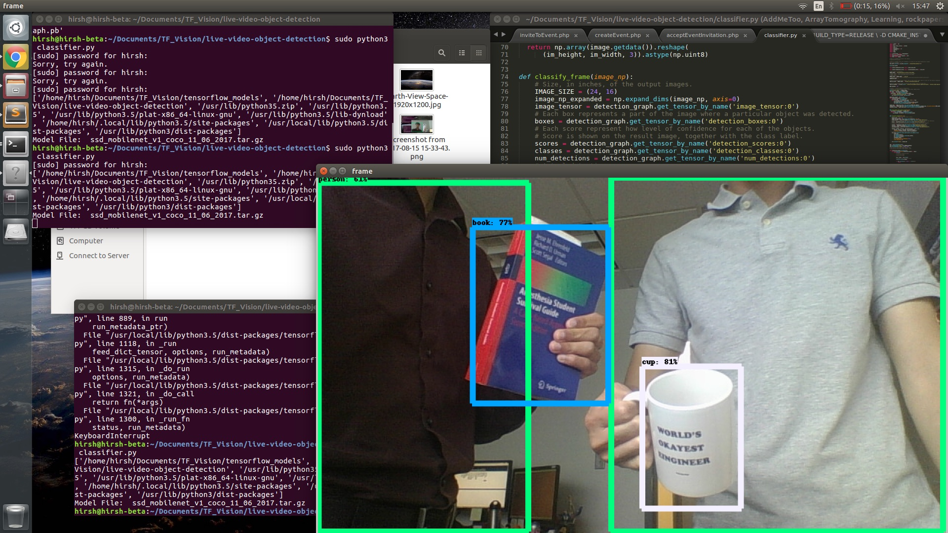 computer vision cup and a book