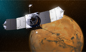 illustration of NASA's Mars Orbiter above the planet Mars