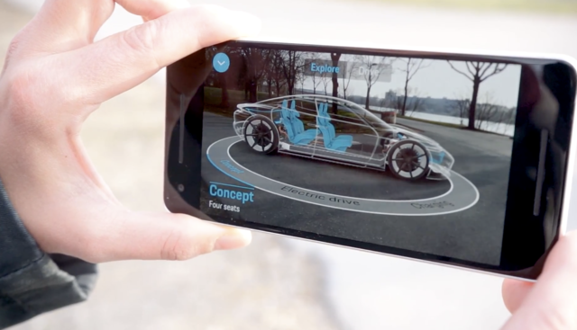 iPhone showing 3D rotational view of an auto