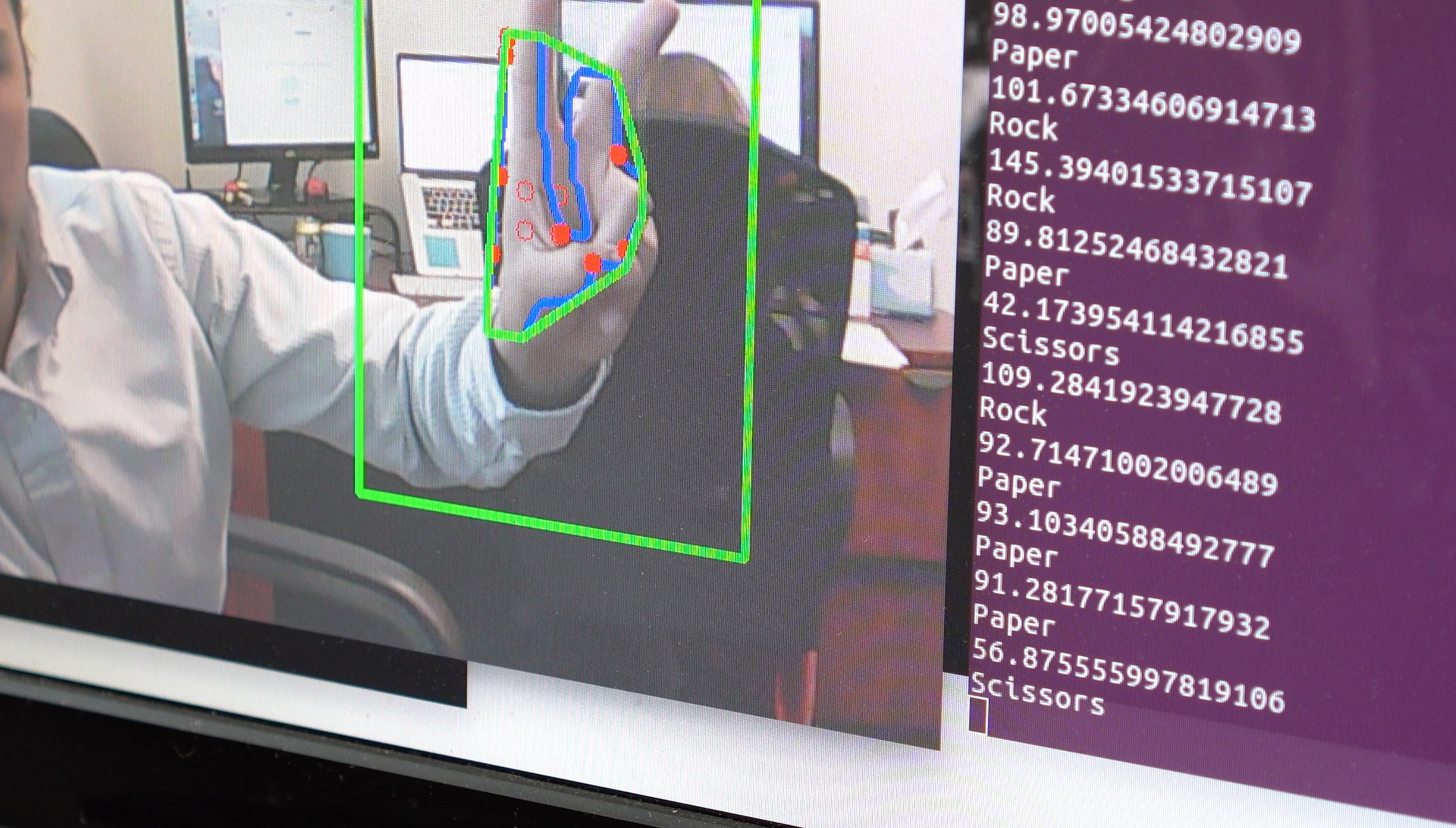 computer vision recognizing a hand making a victory sign