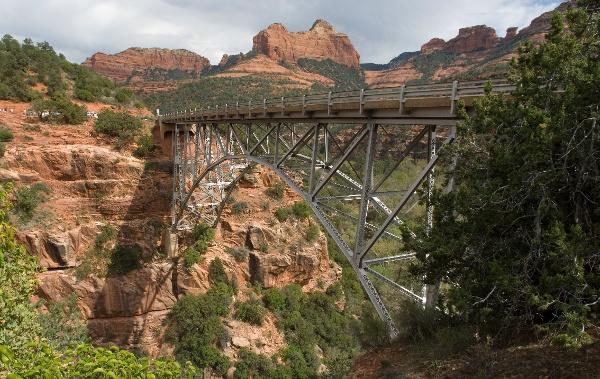 Image of Bridge crossing a mountain gap