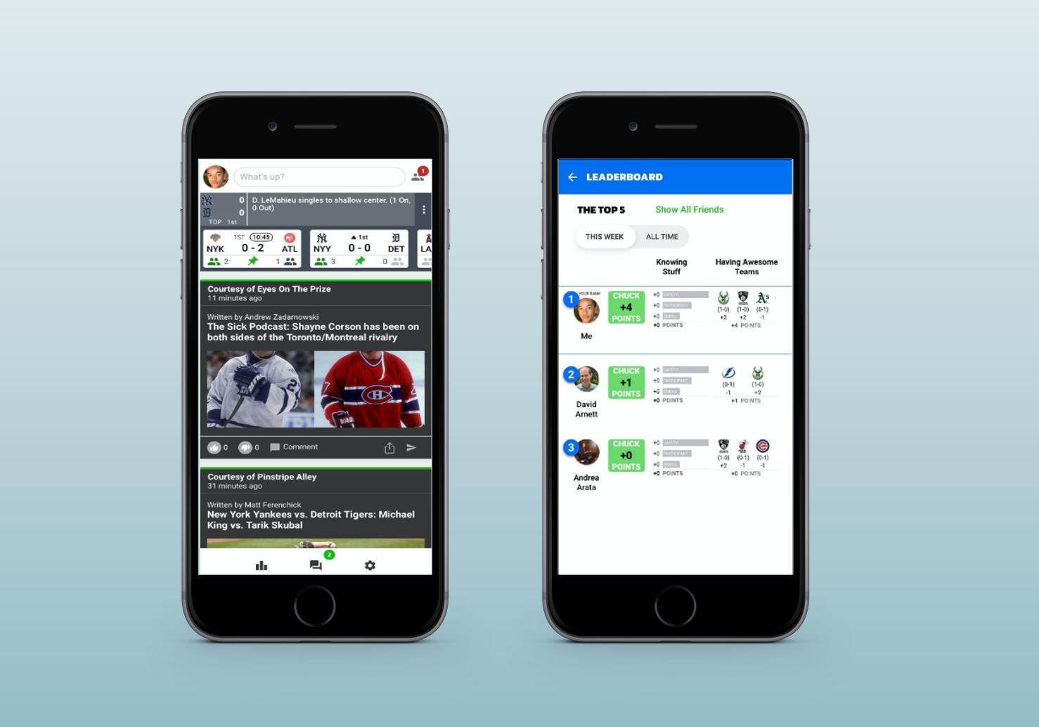 Chuck App Screens on Phones