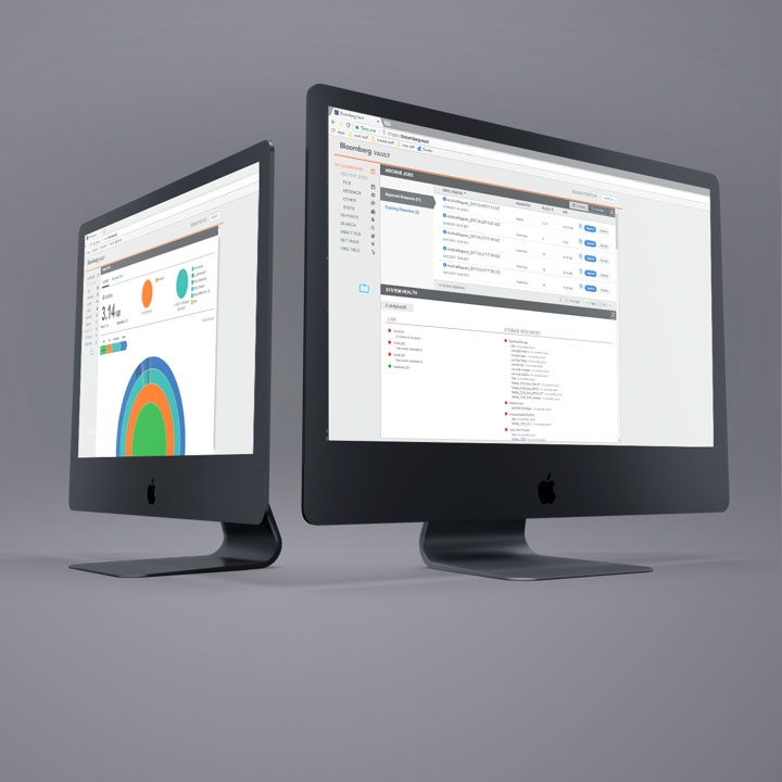 two monitors showing the Bloomberg application