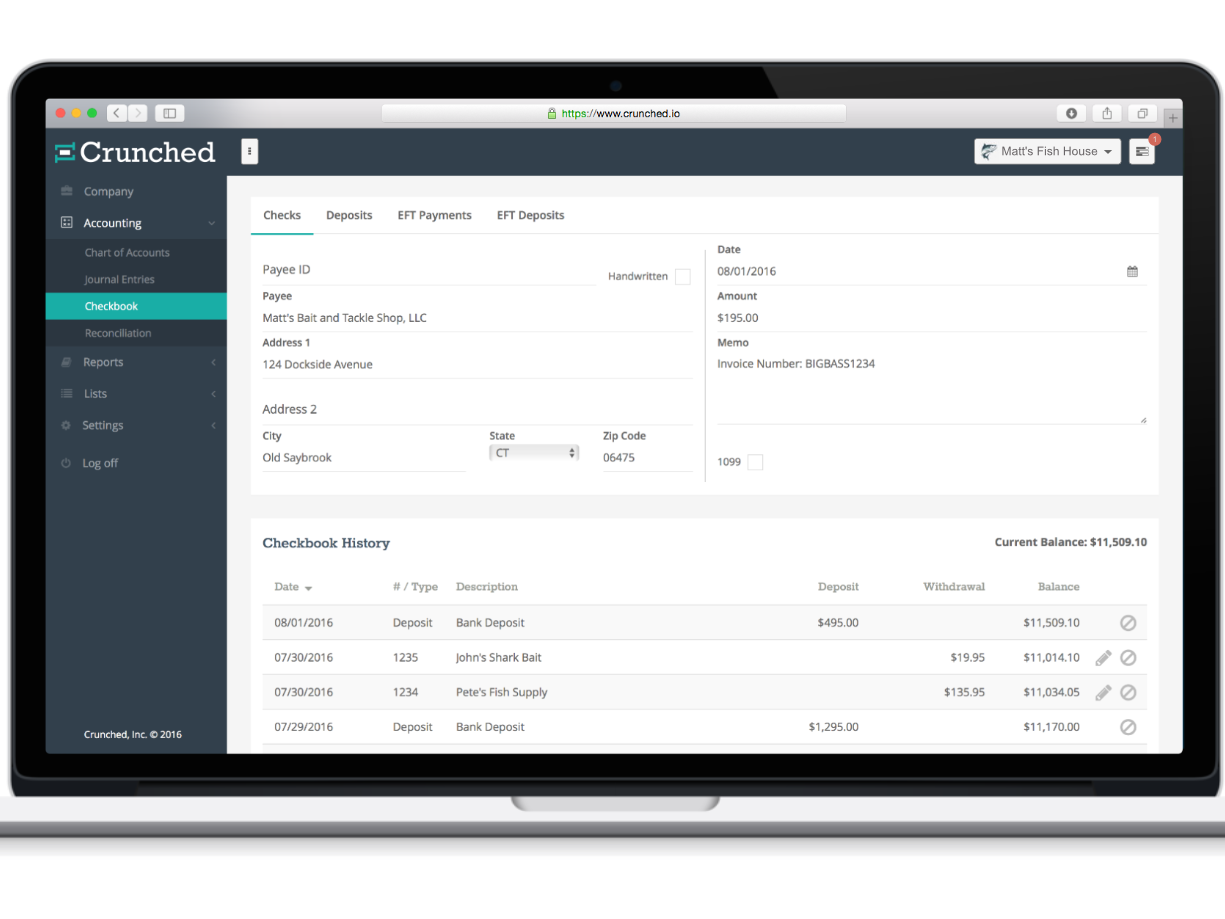 Crunched accounting application interface